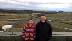 Lewis and Owen on top of Knockhill commentary tower.