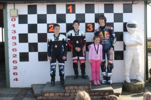 Zoe Paterson, Knockhill May 2016, Group 1 Podium, photo copyright Trudi.